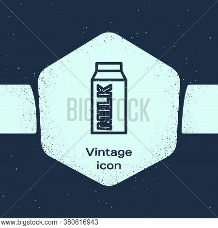 Grunge Line Paper Package For Milk Icon Isolated On Blue Background. Milk Packet Sign. Monochrome Vi
