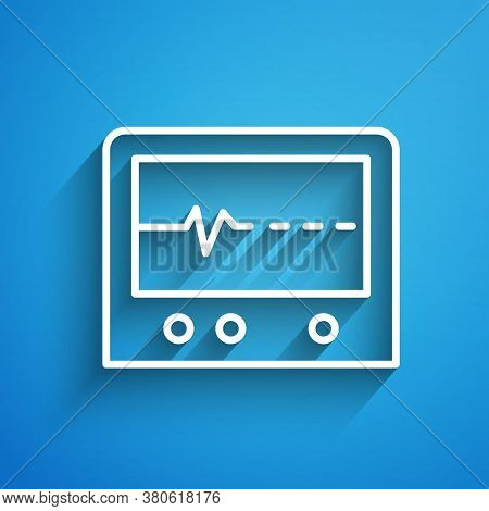 White Line Beat Dead In Monitor Icon Isolated On Blue Background. Ecg Showing Death. Long Shadow. Ve