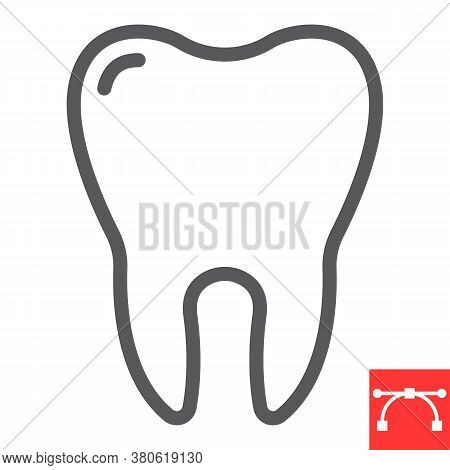 Tooth Line Icon, Dental And Stomatolgy, Tooth Sign Vector Graphics, Editable Stroke Linear Icon, Eps