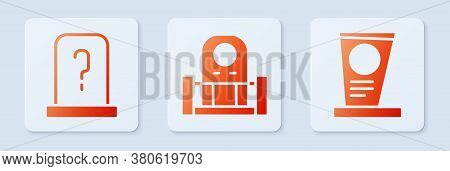 Set Grave With Tombstone, Grave With Tombstone And Grave With Tombstone. White Square Button. Vector