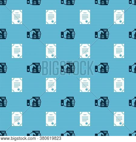 Set Death Certificate In Hand And Death Certificate On Seamless Pattern. Vector