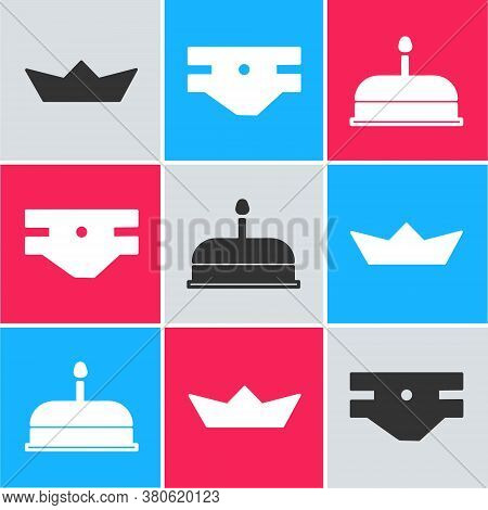 Set Folded Paper Boat, Baby Absorbent Diaper And Cake With Burning Candles Icon. Vector