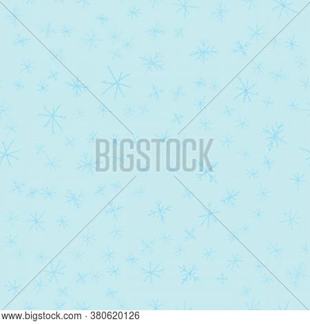 Hand Drawn Blue Snowflakes Christmas Seamless Pattern. Subtle Flying Snow Flakes On Turqouise Backgr