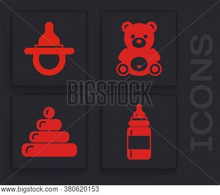 Set Baby Bottle, Baby Dummy Pacifier, Teddy Bear Plush Toy And Pyramid Toy Icon. Vector