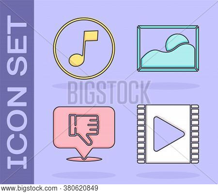Set Play Video, Music Note, Tone, Dislike In Speech Bubble And Picture Landscape Icon. Vector