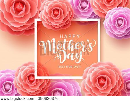 Mother's Day Vector Greetings Card Design. Happy Mother's Day Typography For Mothers With Colorful C