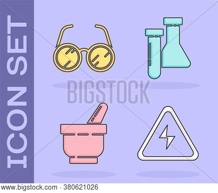Set High Voltage Sign, Laboratory Glasses, Mortar And Pestle And Test Tube And Flask Chemical Icon.