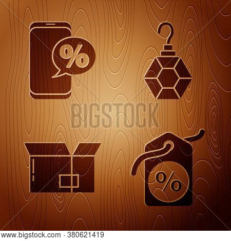 Set Discount Percent Tag, Percent Discount And Phone, Carton Cardboard Box And Earring On Wooden Bac