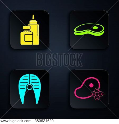 Set Fresh Frozen Steak Meat, Sauce Bottle, Fish Steak And Steak Meat. Black Square Button. Vector