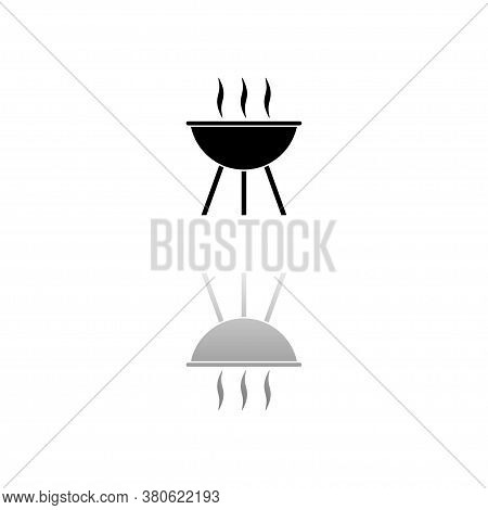 Roaster Bbq. Black Symbol On White Background. Simple Illustration. Flat Vector Icon. Mirror Reflect