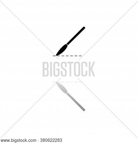 Incision Surgery. Black Symbol On White Background. Simple Illustration. Flat Vector Icon. Mirror Re
