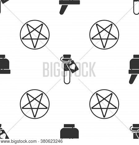 Set Magic Mortar And Pestle, Bottle With Love Potion And Pentagram In A Circle On Seamless Pattern.