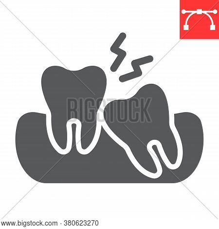 Wisdom Teeth Glyph Icon, Dental And Stomatolgy, Impacted Tooth Sign Vector Graphics, Editable Stroke