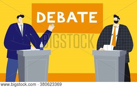 Political Debates Vector Illustration With Two Male Politicians Standing Behind The Tribune, Discuss