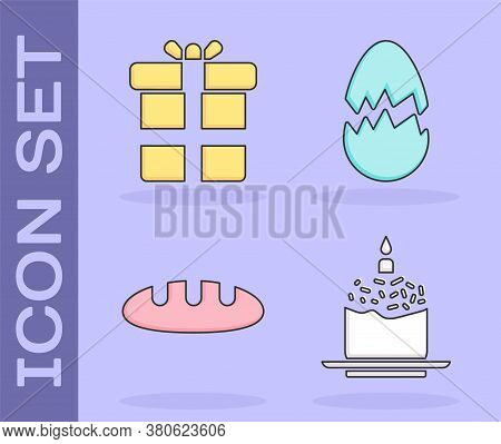 Set Easter Cake And Candle, Gift Box, Bread Loaf And Broken Egg Icon. Vector