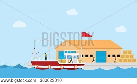 Fishery Industry Concept On Small Port And Warehouse Or Storehouse Building With Boat And People Wit