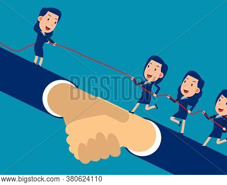 Leader Helps The Other Entrepreneur Reach The Goal And Climb. Unity Of Employee In The Company