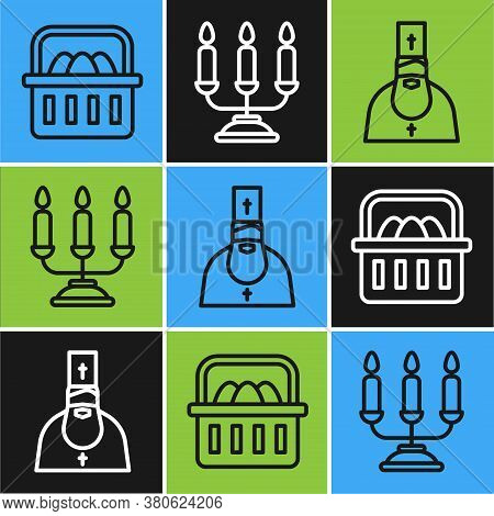 Set Line Basket With Easter Eggs, Priest And Candelabrum With Candlesticks Icon. Vector