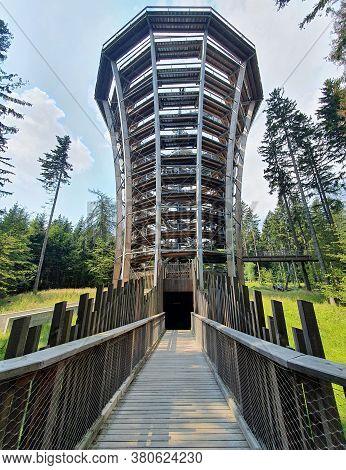 Janske Lazne, Czech Republic - August 09, 2020: Observation Tower Of The Krkonose Tree Top Walk Trai