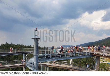 Janske Lazne, Czech Republic - August 09, 2020: The Top Of Observation Tower Of The Krkonose Tree To