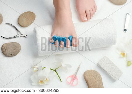 French Pedicure At Spa And Beauty Salon