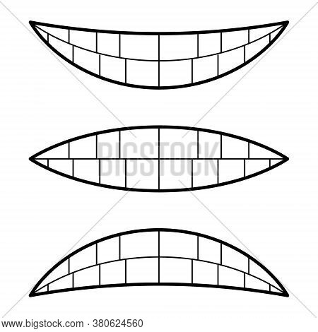 Icons Emotions Smile Happiness And Sadness Anger, Vector Signs Of Emotions Lips Teeth, Emotional Fac
