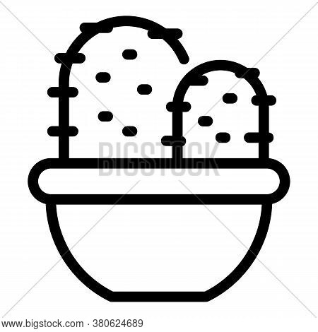 Bedroom Cactus Pot Icon. Outline Bedroom Cactus Pot Vector Icon For Web Design Isolated On White Bac