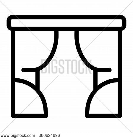 Bedroom Window Curtains Icon. Outline Bedroom Window Curtains Vector Icon For Web Design Isolated On