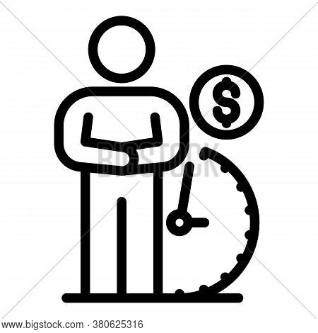 Man Waiting Pension Icon. Outline Man Waiting Pension Vector Icon For Web Design Isolated On White B