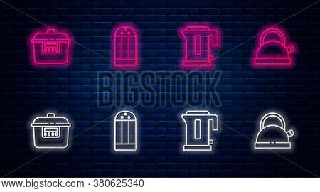 Set Line Salt, Electric Kettle, Slow Cooker And Kettle With Handle. Glowing Neon Icon On Brick Wall.