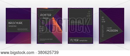 Black Brochure Design Template Set. Violet Abstract Lines On Dark Background. Admirable Brochure Des