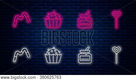Set Line Cupcake, Jar Of Honey, Jelly Worms Candy And Lollipop. Glowing Neon Icon On Brick Wall. Vec