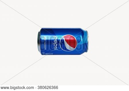 Kharkov, Ukraine - April 15, 2020 : Pepsi Drink In A Can Isolated On White Background. Pepsi Is Carb