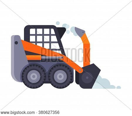 Compact Winter Snow Removal Machine, Cleaning Road Snowblower Vehicle Vector Illustration