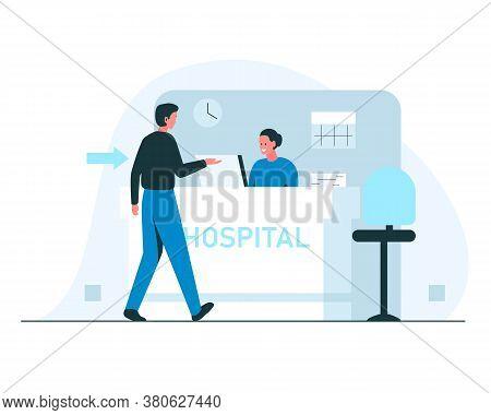 Hospital Reception Concept Illustration. Vector Illustration Of A Man Walking To A Hospital Receptio