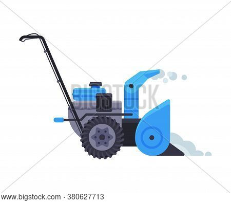 Blue Snowblower, Winter Snow Removal Machine, Cleaning Road Equipment Vector Illustration