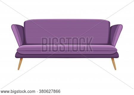 Lilac Comfortable Sofa, Cozy Domestic Or Office Furniture, Modern Interior Design Flat Vector Illust