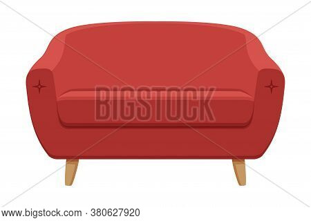 Red Comfortable Sofa, Cozy Domestic Or Office Furniture, Modern Interior Design Element Flat Vector