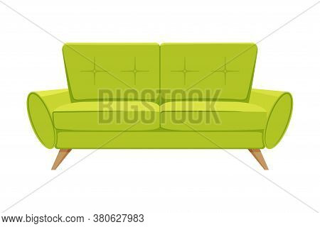 Comfortable Sofa, Cushioned Cozy Domestic Or Office Furniture With Yellow Green Upholstery, Modern I