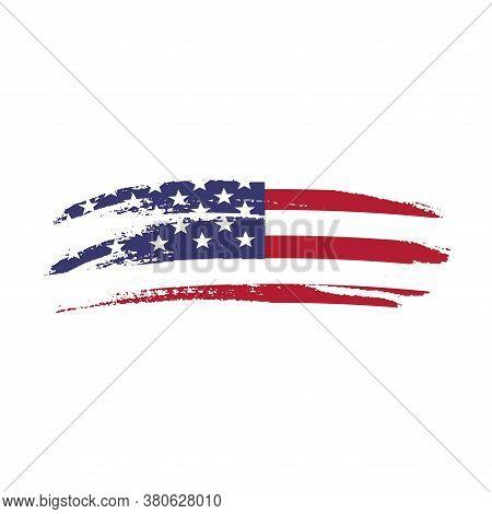 Vector Grunge American Flag. Usa Distress Flag. Patriotic Illustration