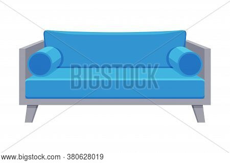 Comfortable Sofa, Cushioned Cozy Domestic Or Office Furniture With Light Blue Upholstery, Interior D