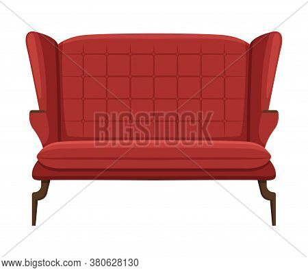 Comfortable Sofa, Cushioned Cozy Domestic Or Office Furniture With Red Upholstery, Interior Design E