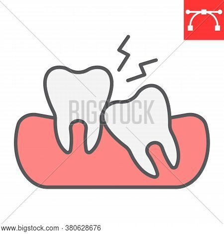 Wisdom Teeth Color Line Icon, Dental And Stomatolgy, Impacted Tooth Sign Vector Graphics, Editable S