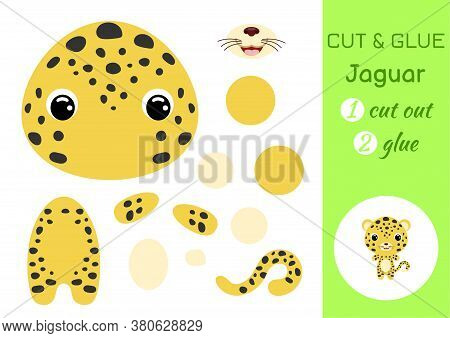 Cut And Glue Baby Leopard. Education Developing Worksheet. Color Paper Game For Preschool Children.