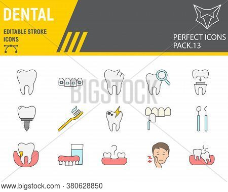 Dental Color Line Icon Set, Dentistry Collection, Vector Sketches, Logo Illustrations, Orthodontics