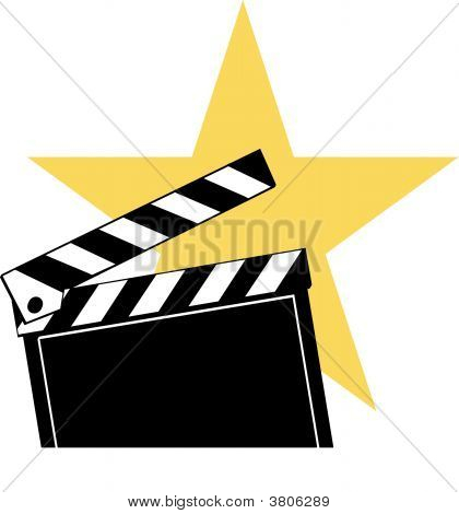 Clapboard With Star Behind.