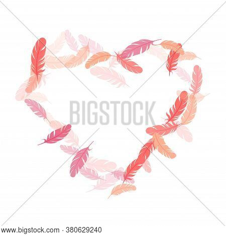 Paradise Pink Flamingo Feathers Vector Background. Flying Feather Elements Airy Vector Design. Decor