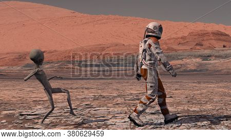 Martian Sneaks Behind An Astronaut On Mars. Astronaut Meets A Martian On Mars. First Contact. Alien