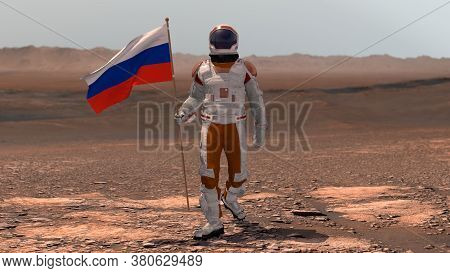 Astronaut Walking On Mars With Russian Flag. Exploring Mission To Mars Red Planet. Futuristic Coloni