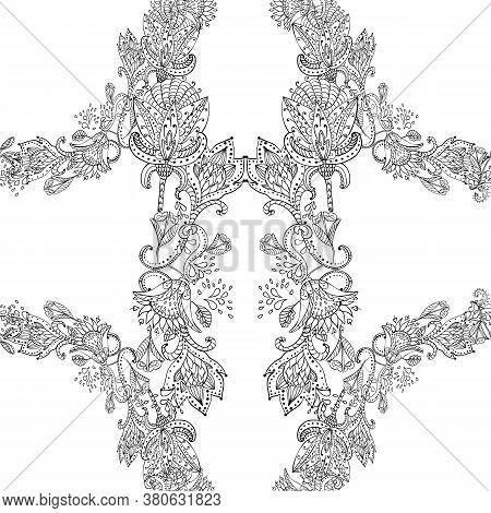 Square Scarf Ethnic Ornate Print Silk. Shawl Hindustani Autentic Fabric Ornament Carpet.